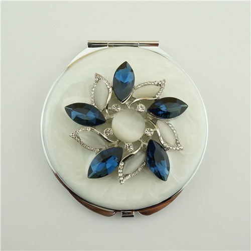 Metal crystal compact mirror/Flower series compact mirror