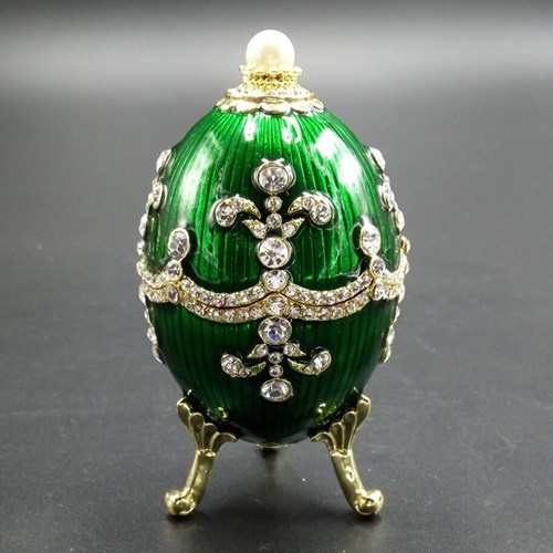 Green decorative faberge egg/Trinket jewel box