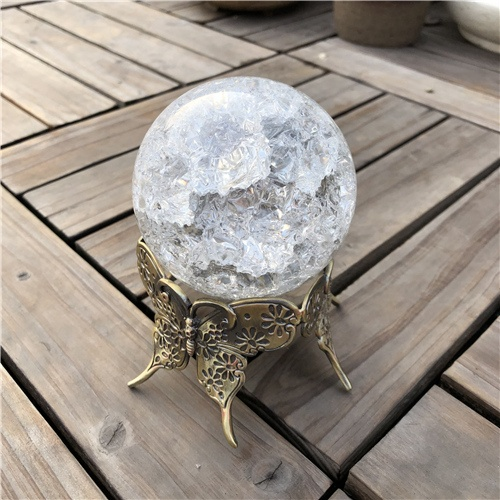 80mm Crystal Ball with Metal Butterfly Base