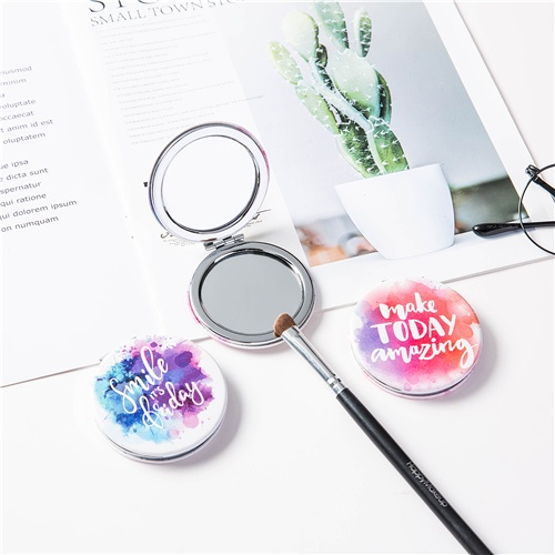 Round mirror compact/2-side PU leather
