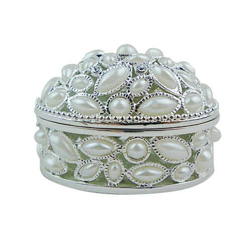 pearl jewelry box pewter trinket box