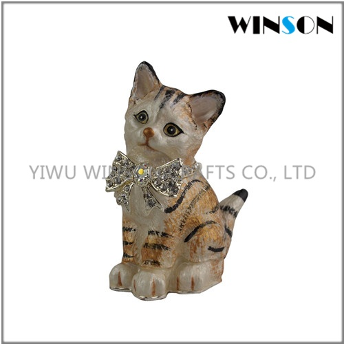 Pewter Jewelry Box / Crytals Cat Jewelry Box