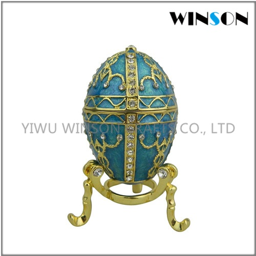 Pewter Jewelry Box / Crytals Faberge Eggs Jewelry Box