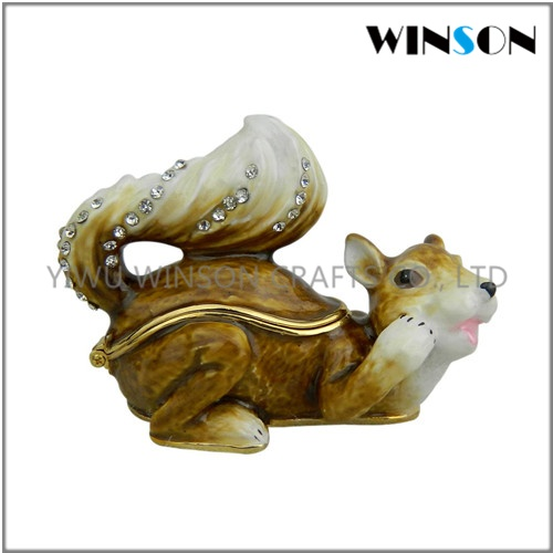 Pewter Jewelry Box / Crytals Squirrel Jewelry Box