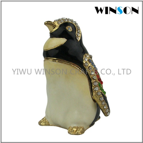 Pewter Jewelry Box / Crytals Penguin Jewelry Box