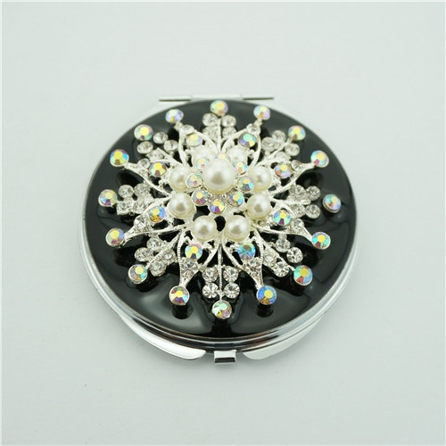 Silver Jewelled Compact Mirror/Vintage Cosmetic Compact