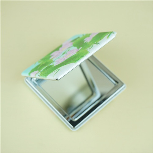 PU compact mirror water lily pattern/beauty mirror