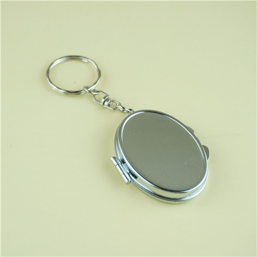 mini oval compact mirror with key ring/silver compact mirror engraved
