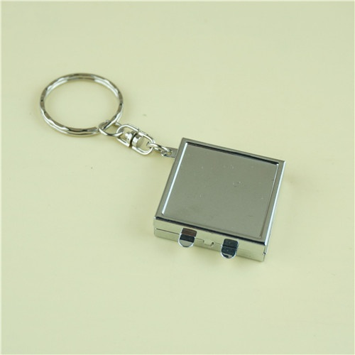 Mini compact mirror with key ring/Square metal cosmetic mirror
