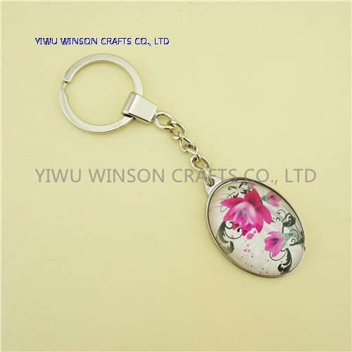 Single Side Floral Crystal Key Chain/Custom Logo Key Chain