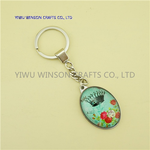 Single Side Crown Crystal Key Chain/Custom Logo Key Chain