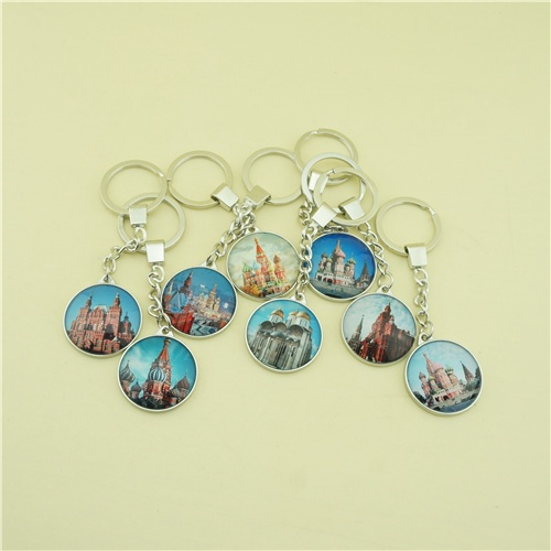 Glass Key Chain with Single Side Printing Moscow View