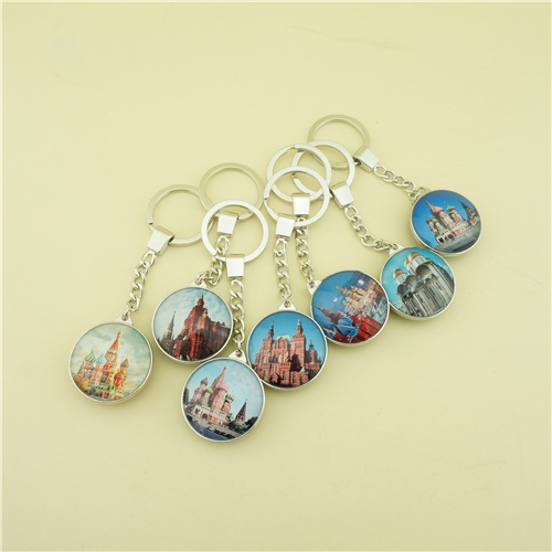 Double Sides Glass Key chains with Red Square Photo Printing
