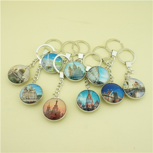 Double Side Glass Keychains with Saint Peterburg Great Views