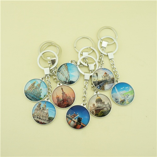 Single Side Glass Keychains with Printing Cathedral