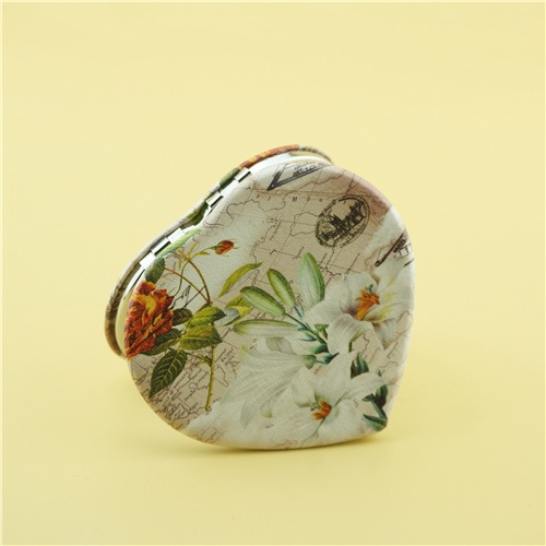 Personalised pocket mirror/heart-shaped PU compact mirror