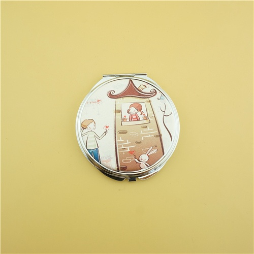 Round lancome compact mirror/PU personalized mirror compact