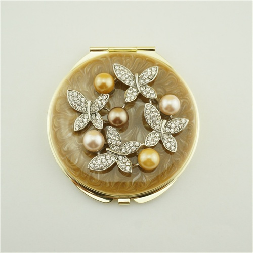 Butterfly series pearl compact mirror/Crystal compact mirror