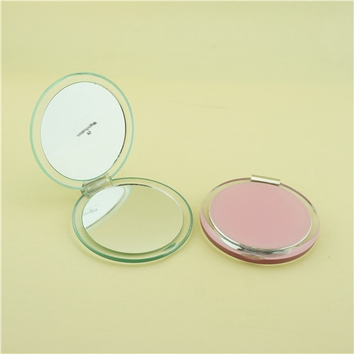 Round pink compact mirror/Bridesmaid compact mirror