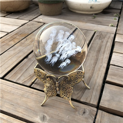 80mm Crystal Jellyfish Ball with Metal Butterfly Base